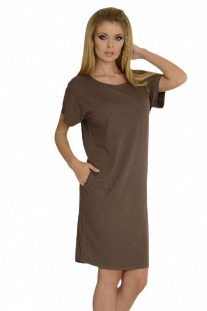 Dámské letní šaty/ tunika krátký rukáv De Lafense 523 mocca