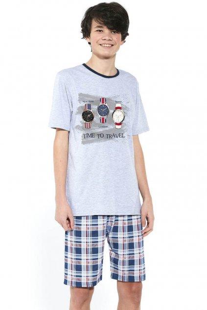 Chlapecké bavlněné pyžamo s krátkým rukávem Cornette 551/34 Time to Travel.