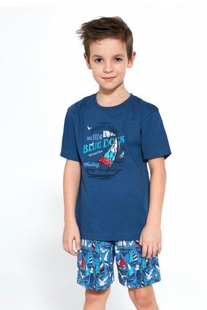 Chlapecké bavlněné pyžamo s krátkým rukávem Cornette 790/96 Blue Dock.