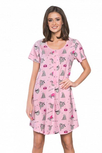 Dámská růžová noční košile s krátkým rukávem Italian Fashion Orso
