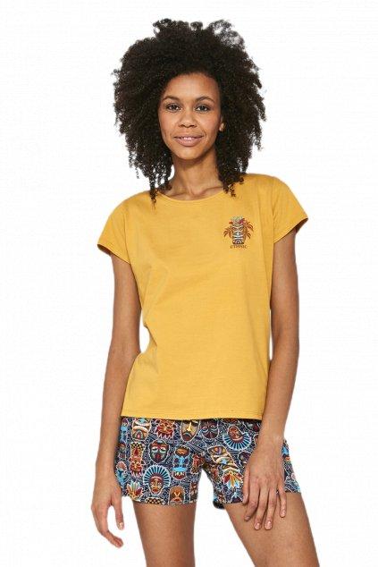 Dámské žluté pyžamo s krátkým rukávem Cornette628/189 Etnitc