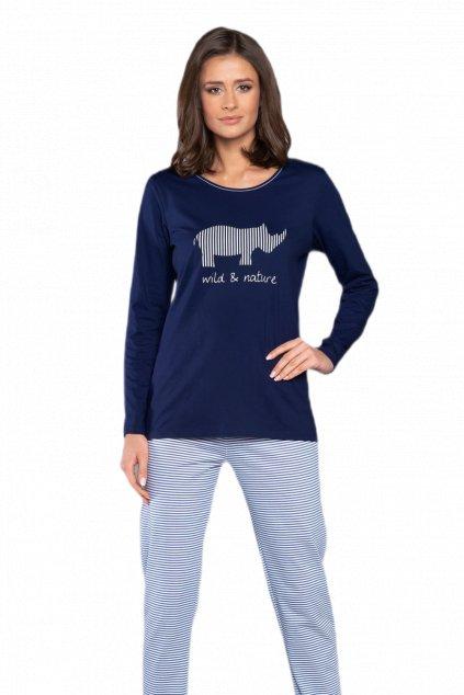 Dámské bavlněné pyžamo s dlouhým rukávem Italian Fashion Lorina.