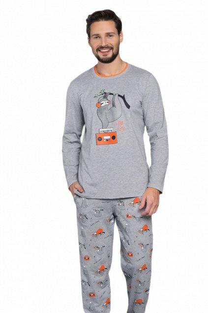 Pánské bavlněné pyžamo s dlouhým rukávem Italian Fashion Bafi.