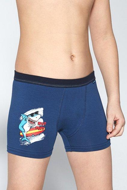 Chlapecké modré boxerky s elastanem Cornette700/105 Surf 3