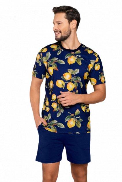 Pánské bavlněné pyžamo s krátkým rukávem Italian Fashion Lemon.
