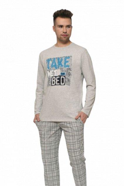 Módní pánské bavlněné pyžamo s dlouhým rukávem Leptir 502/04.