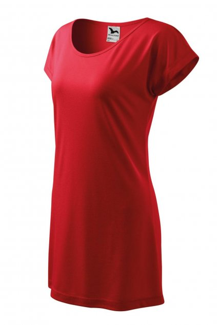 Dámské červené letní šaty z viskózy MF 123/07.