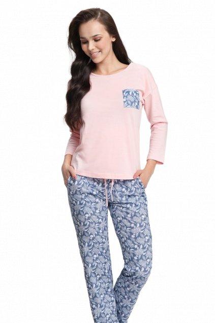 Dámské růžové pyžamo s dlouhým rukávem Luna 494