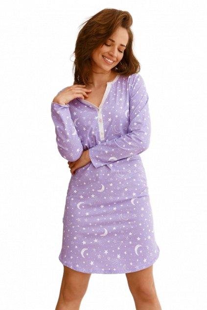 Dámská fialová noční košile s dlouhým rukávem Taro Livia 2574.