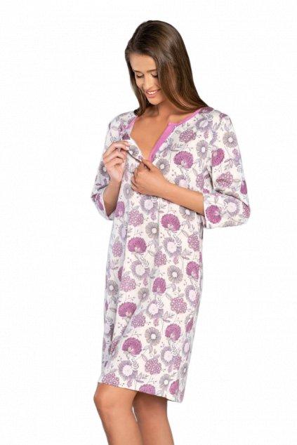 Dámská bavlněná noční košile s 3/4 rukávem Italian Fashion Gazania.