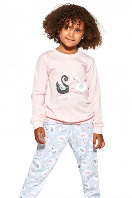Dívčí bavlněné pyžamo s dlouhým rukávem Cornette390/143 Swan 2