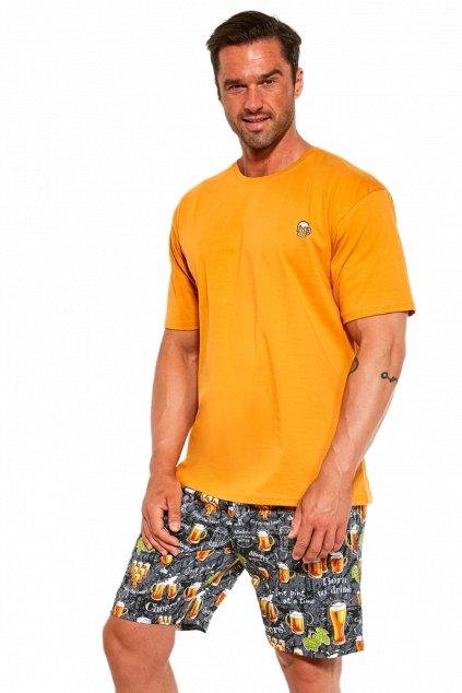 Pánské bavlněné pyžamo s krátkým rukávem Cornette326/192 pivo