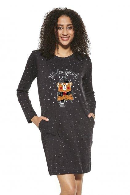 Dámská bavlněná noční košile s dlouhým rukávem Cornette452/297 Winter Friends