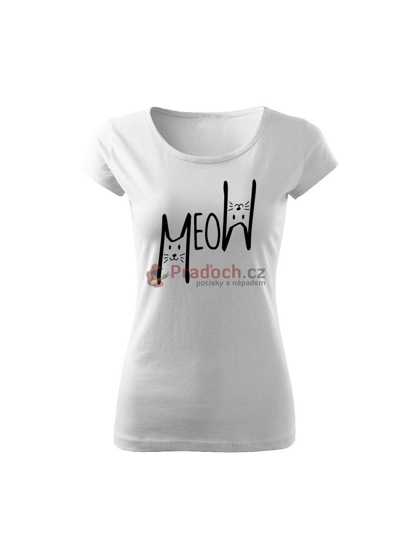 Dámské tričko s potiskem meow