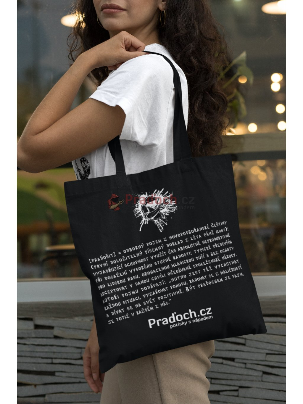 mockup of a long haired woman with a tote bag 29455