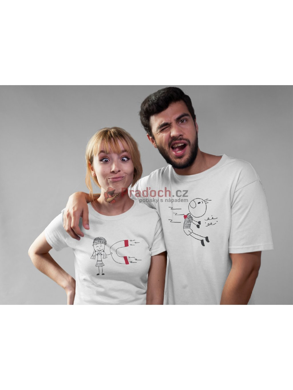 couple making faces while wearing round neck tees mockup a16270