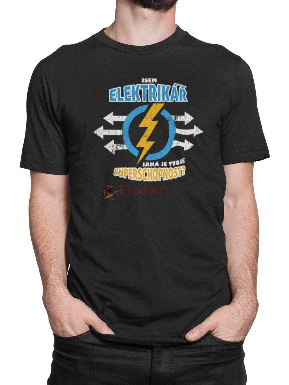 Tričko s potiskem Elektrikář Superschopnost