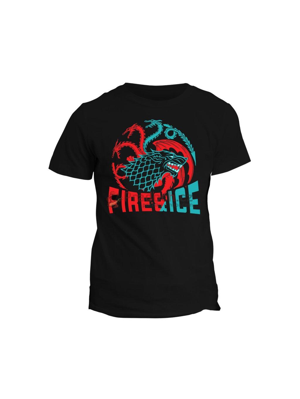 Tričko game of thrones - Fire and ice (pánské, černé, L) - KR1