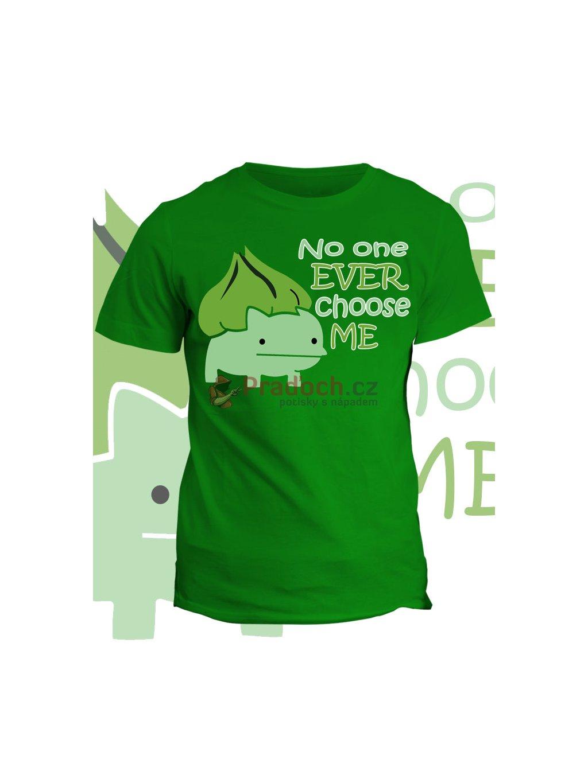 Tričko s potiskem Nebohý Bulbasaur