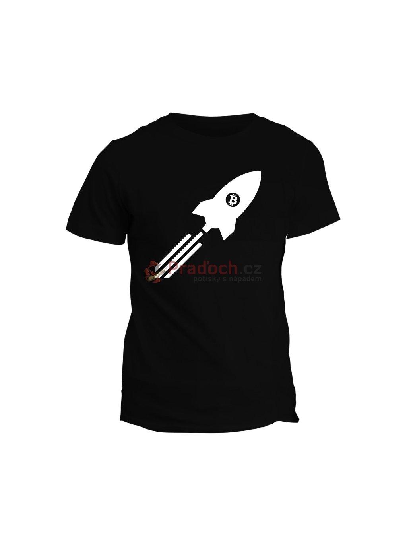 Tričko s potiskem Bitcoin Rocket