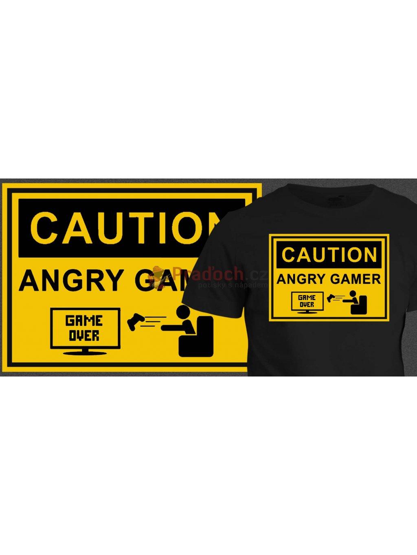 Tričko s potiskem Angry gamer