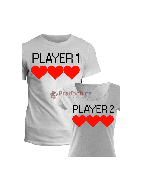 Trička pro páry Player 1 & 2