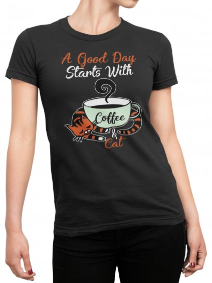 coffe and cat cerne tricko min