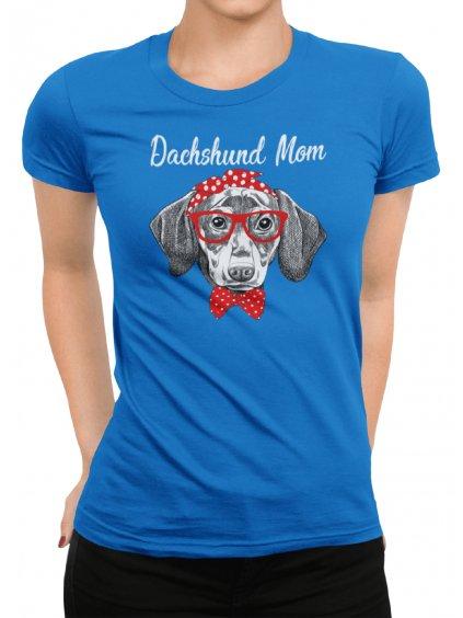 dachshund mom modre tricko min