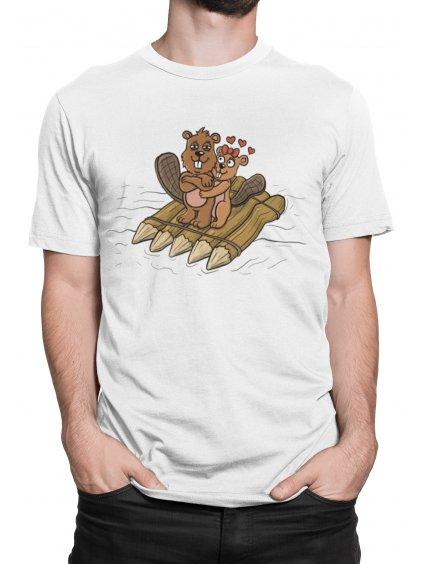 bobři na vlastnozubně vyrobeném voru bile tricko min