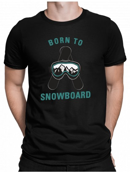 born to snowboard cerne triko min