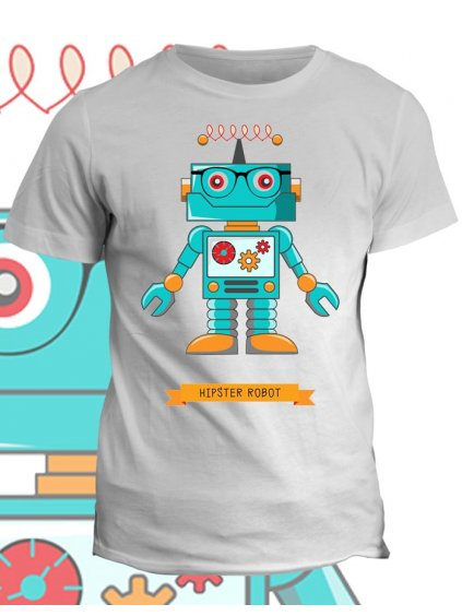 Tričko s potiskem Hipster Robot