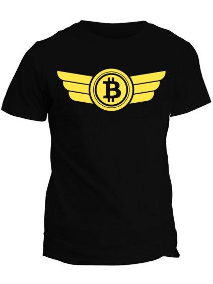 Tričko s potiskem Bitcoin Logo Wings