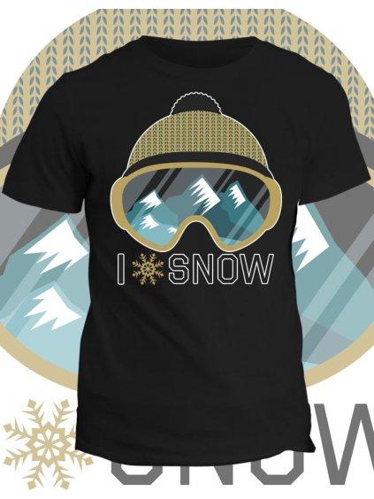 Tričko s potiskem I love snow