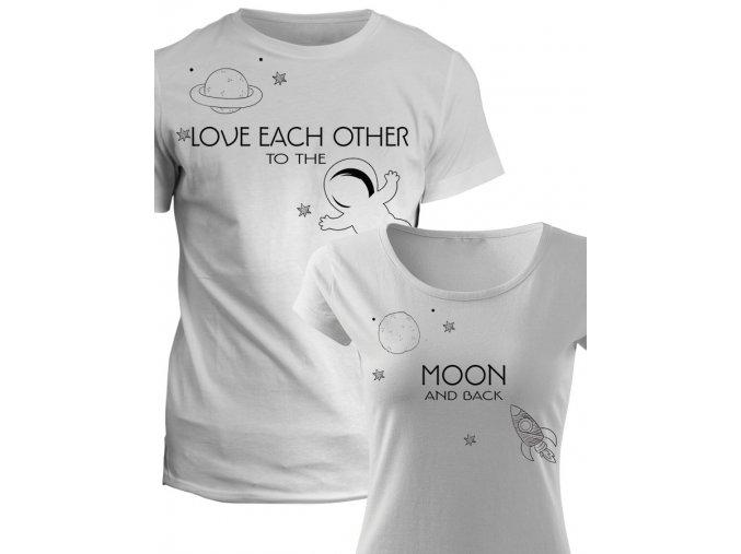Trička pro páry Moon and back