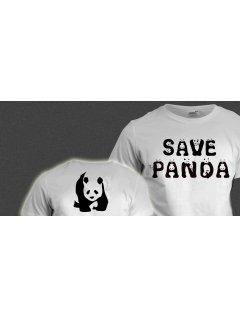 Tričko s potiskem SAVE PANDA  (oboustranný potisk)
