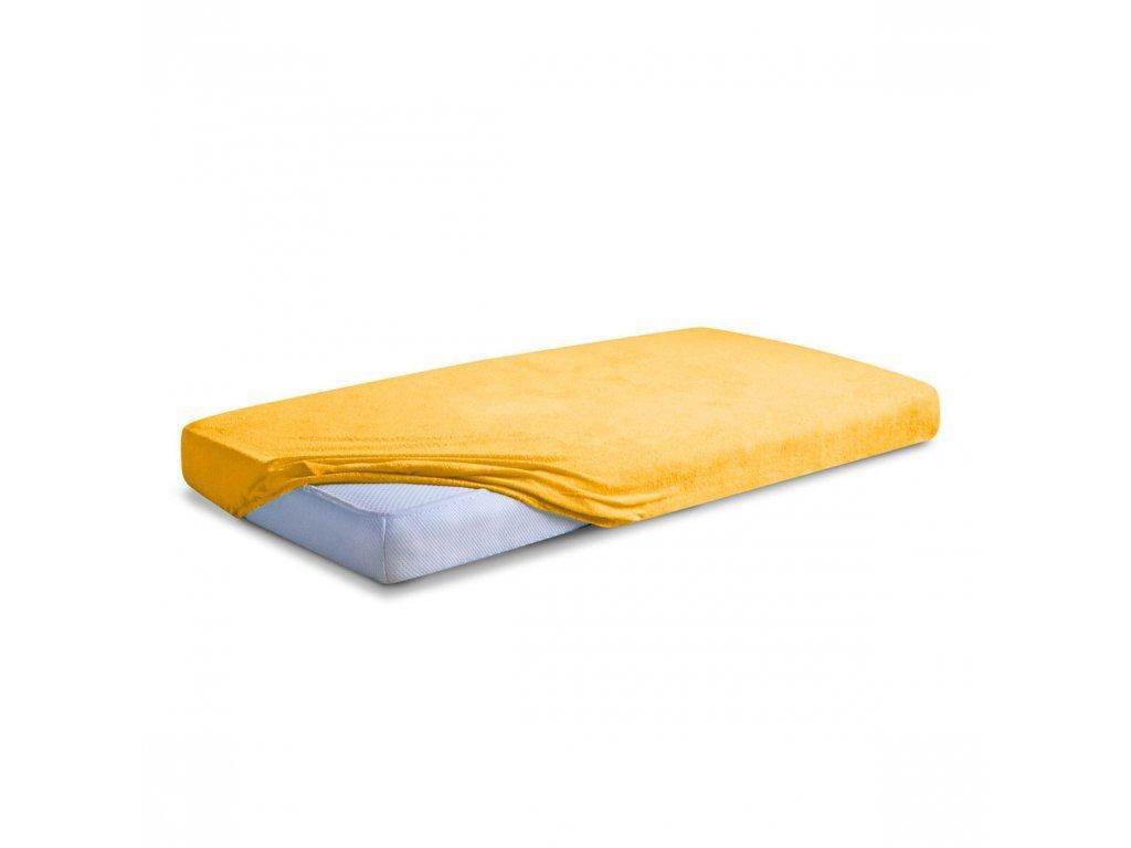 Žluté Froté prostěradlo 140/200 cm