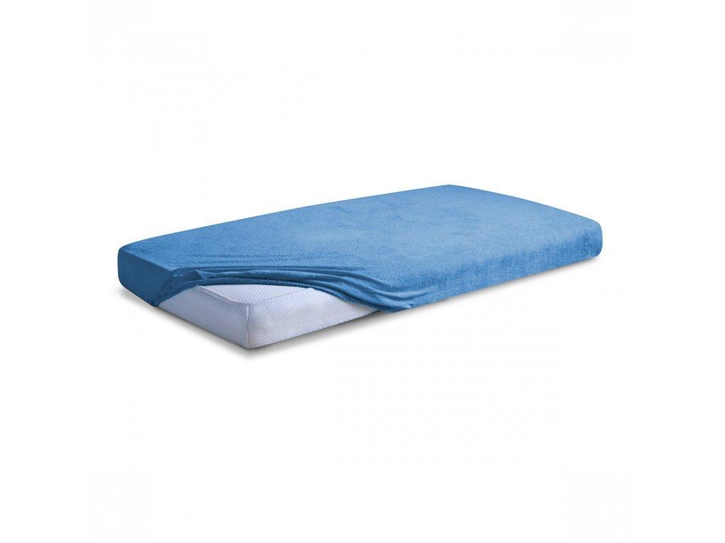 Modré Froté prostěradlo 160/200 cm