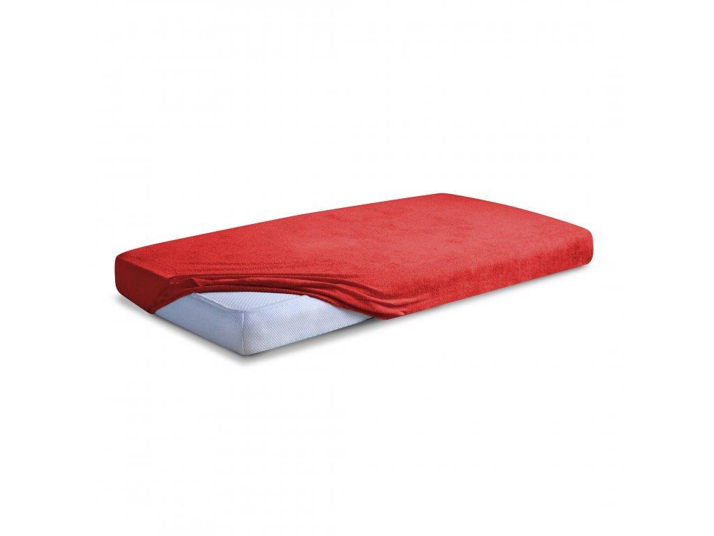 Červené Froté prostěradlo 90/200 cm