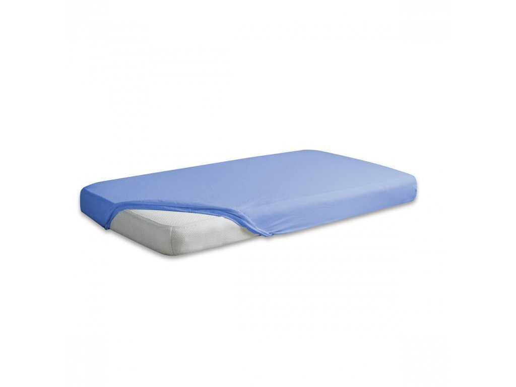 Modré jersey prostěradlo 90/200 cm