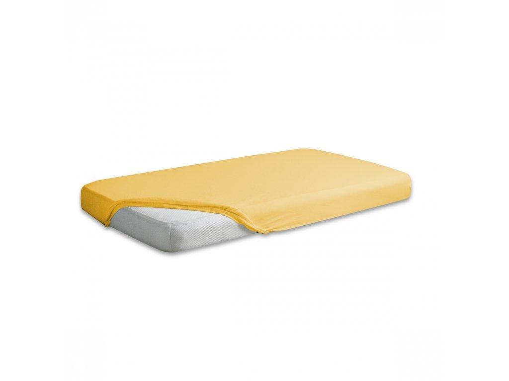 Žluté jersey prostěradlo 160/200 cm