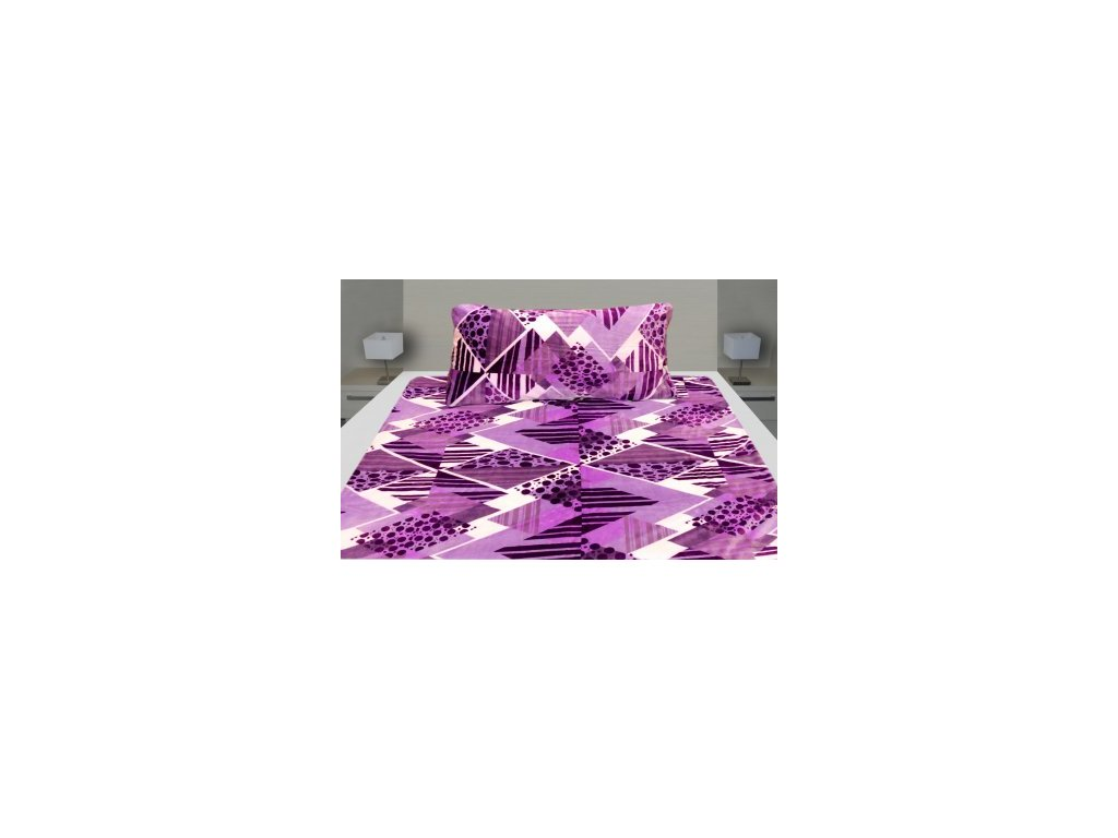 Povlečení MICROFLANEL- fialová kostka 1+1 140/200 cm, 70/90 cm - 118-12