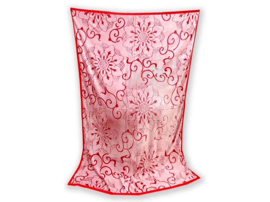 Deka mikro vzorovaná 200/220 cm - Gita červená