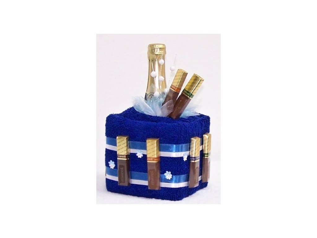 Ručníkový dort KOSTKA + šampaňské