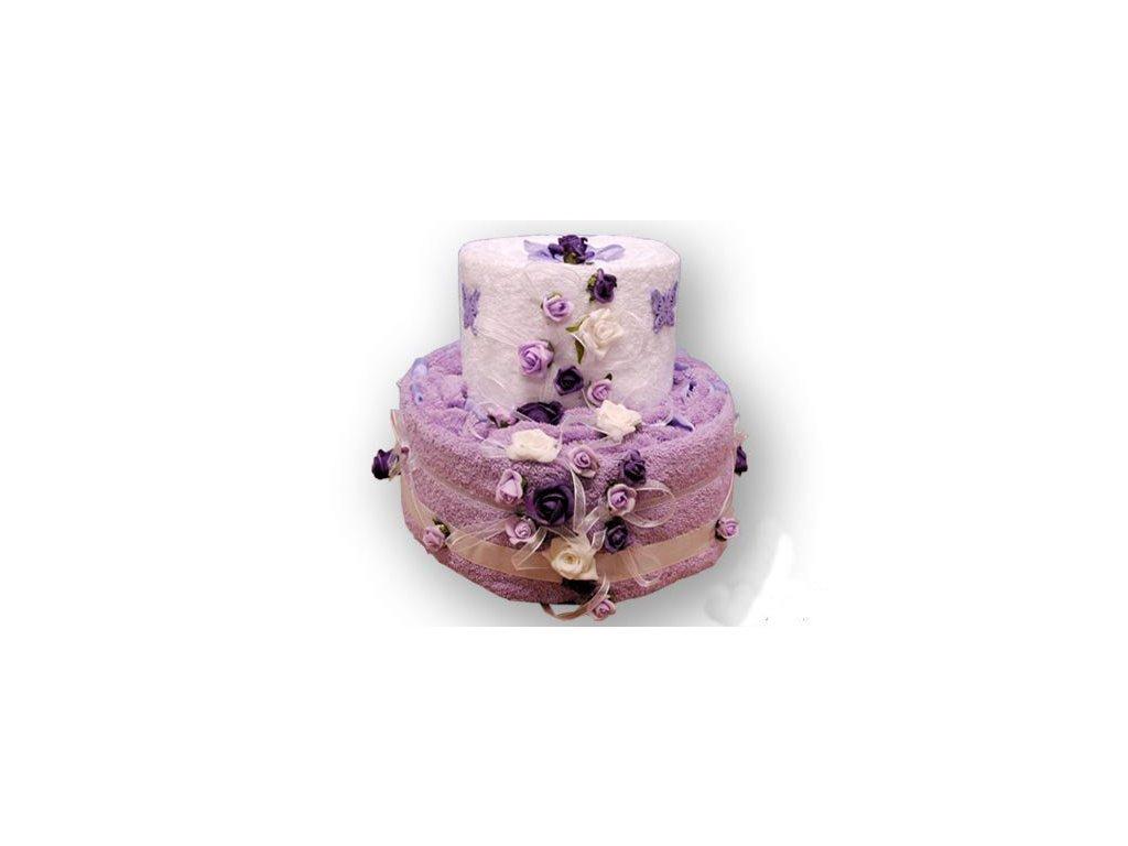 Dárkový dort z froté - Růžičky v peřince