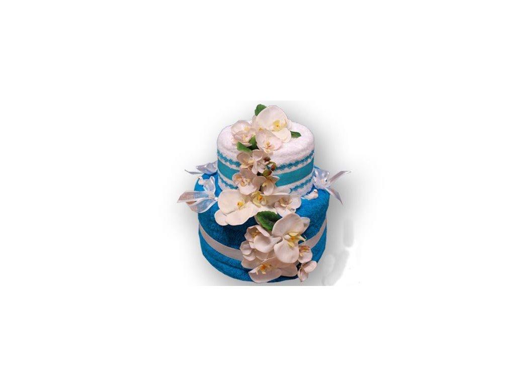 Dárkový dort z froté - Zamilovaná orchidej