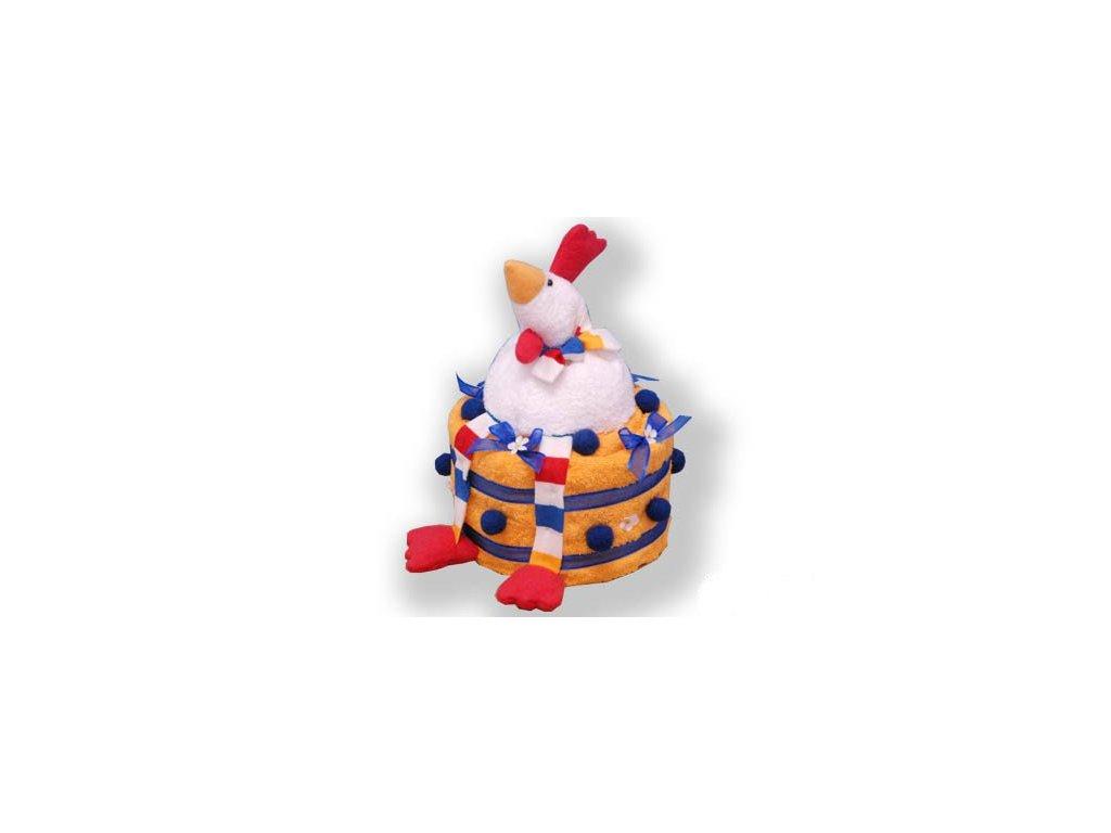 Dárkový dort z froté - Pyšná slepice