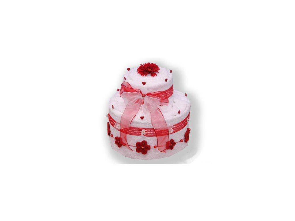 Dárkový dort z froté - Červená něžnost