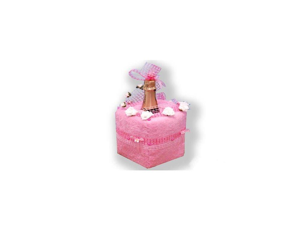 Dárkový dort z froté - Růžový přípitek