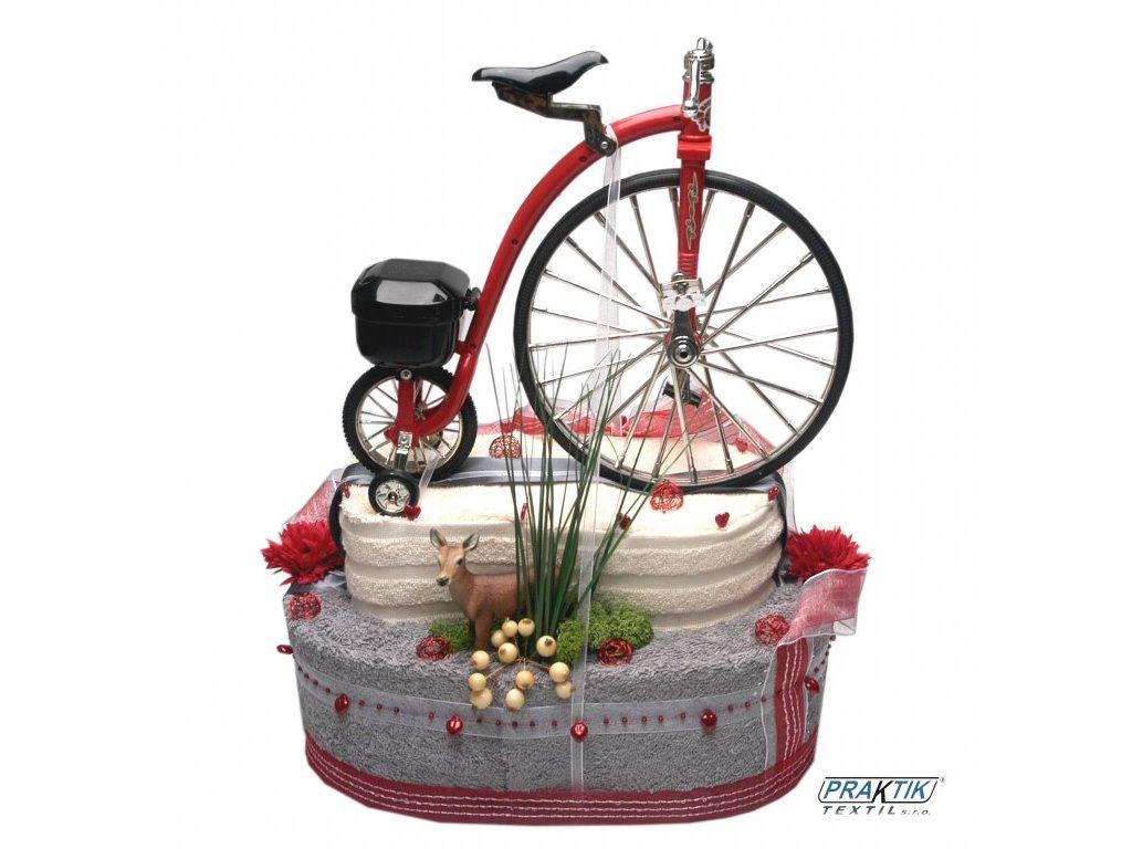 Dárkový dort z froté - Cyklistický