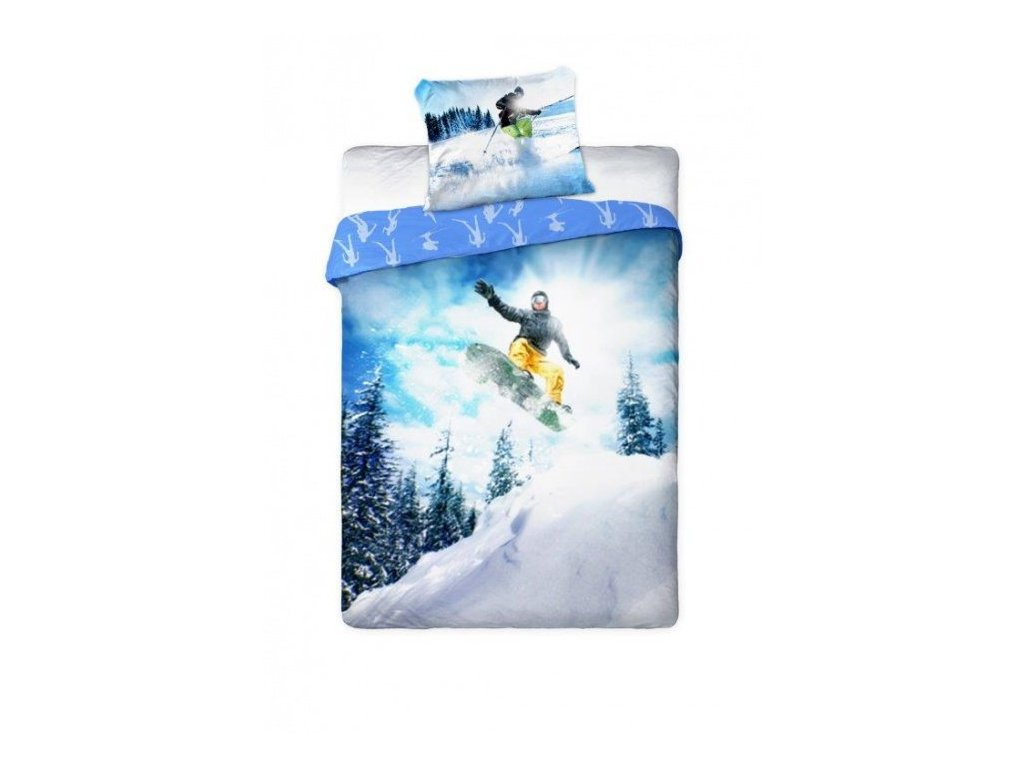Bavlněné povlečení 1+1 1x 140/200 cm, 1x 70/90 cm-snowboard - 3906